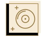 icône beige avec disque doré