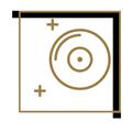 pictogramme blanc et doré avec disque pour le club