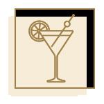 icône beige avec cocktail doré