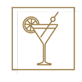icône blanc et doré avec un cocktail pour le rooftop cloud nine