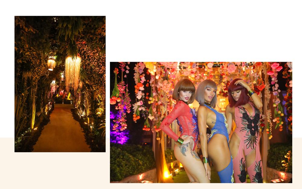 trois jeunes femmes vêtues de bodies colorés avec un décor fleuri au club bâoli