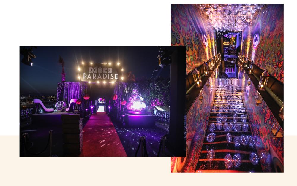 décoration mystique et incroyable pour la soirée à thème disco paradise du bâoli cannes