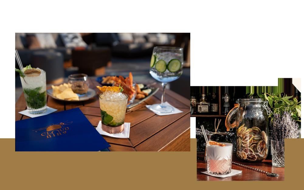 dégustation de cocktails et de planches de nourriture sur le cloud nine avec un bandeau doré en fond