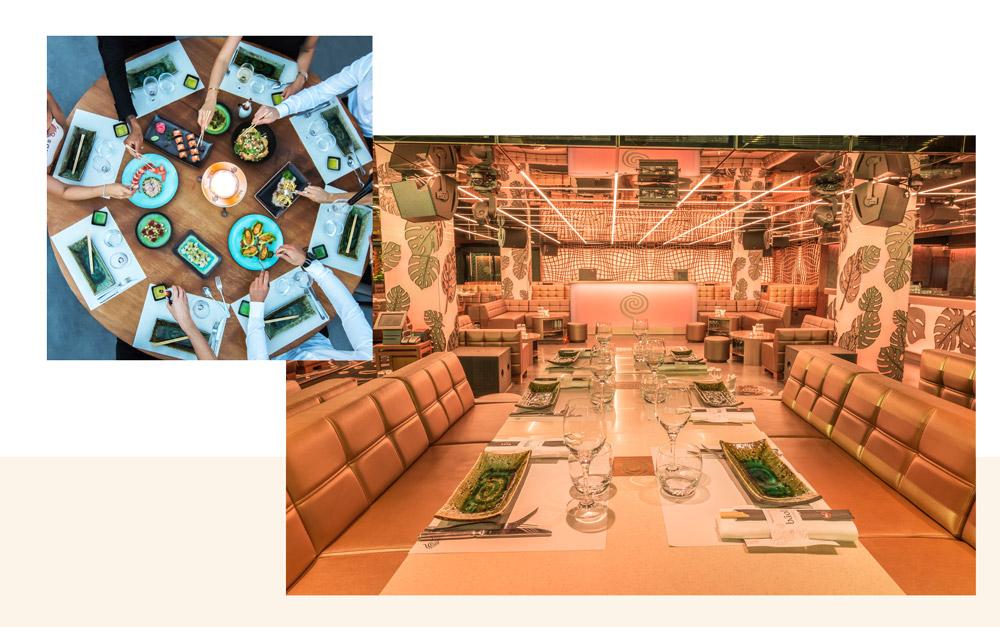 décoration tropicale au restaurant bâoli cannes avec des plats à partager